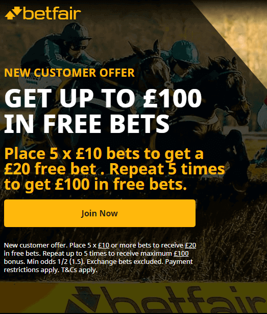 Betfair Sign up Offer Up to £100 in Free Bets
